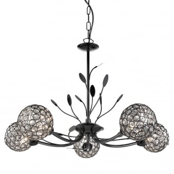 Bellis II Five Arm Black Chrome with Glass Deco Shades Pendant Light