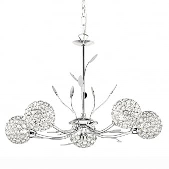 Bellis II Five Arm Chrome with Glass Deco Shades Pendant Light