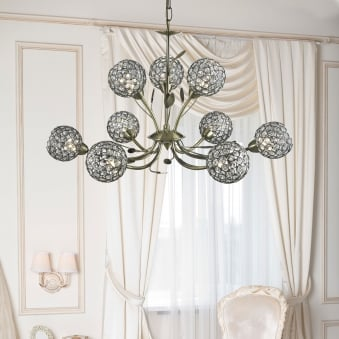 Bellis II Nine Arm Antique Brass with Glass Deco Shades Pendant Light