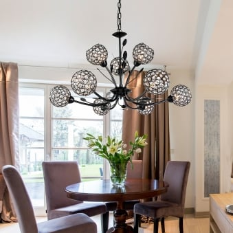 Bellis II Nine Arm Black Chrome with Glass Deco Shades Pendant Light