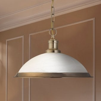 Bistro Antique Brass Pendant with Acid Glass Shade