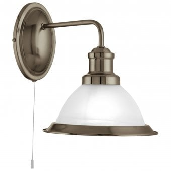 Bistro Antique Brass Wall Light with Acid Glass Shade
