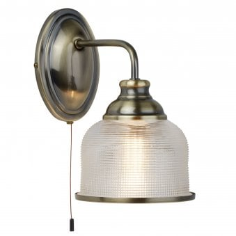 Bistro II Antique Brass Wall light with Holophane Glass Shade