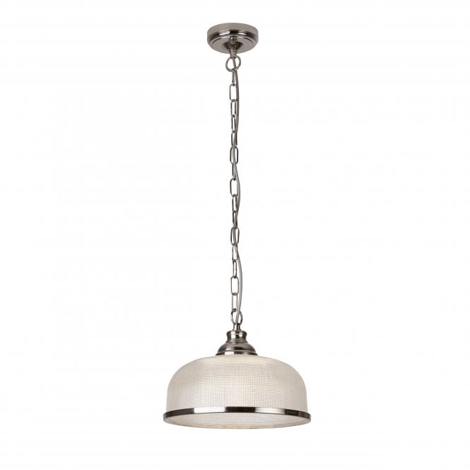 Bistro II Satin Silver Pendant with Holophane Glass Shade