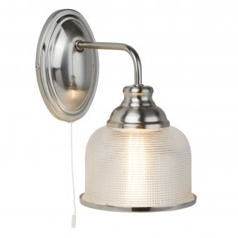 Bistro II Satin Silver Wall light with Holophane Glass Shade