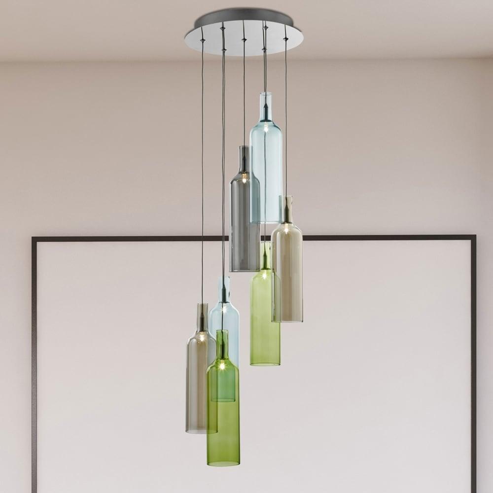 COLOURFUL LED BOTTLE SHAPED PENDANT LIGHT GLASS FINISH ELEGANT STYLISH HOME