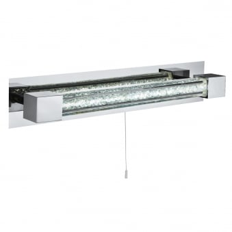 Chrome LED IP 44 Bathroom Wall Light with Crystal Glass Bar
