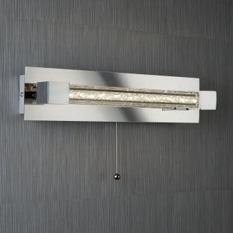 Chrome LED IP44 Bathroom Wall Light with Crystal Glass Bar