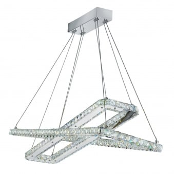Clover Chrome LED 2 Rectangle Frame Ceiling Light with Crystal Trim