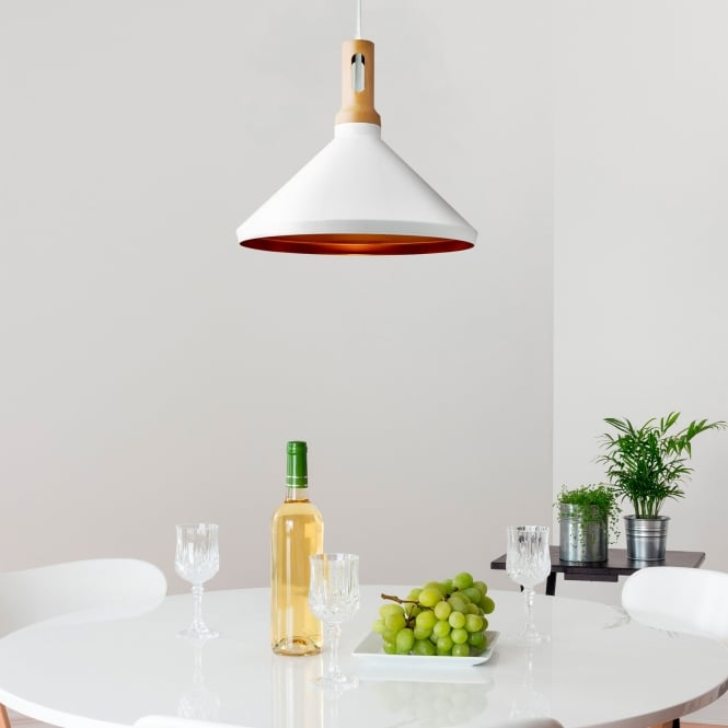 Cone White Pendant With Gold Inner And Wood Detailing