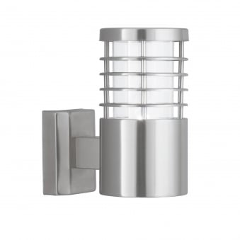 Contemporary Outdoor Wall Light in Satin Silver Finish