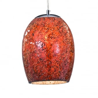 Crackle Pendant Finished in Red Mosaic Glass