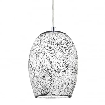 Crackle Pendant Finished in White Mosaic Glass