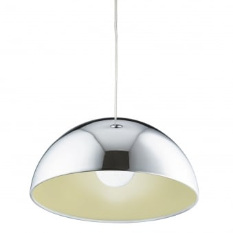 Domas Dome Design Pendant Light in Chrome with Yellow Inner