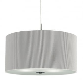 Drum Pleat 60cm Silver Pendant with Frosted Glass Diffuser