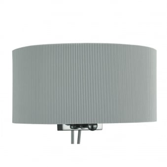 Drum Pleat Silver Wall Light with Curved Shade and Frosted Glass Diffuser