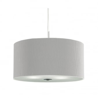 Drum Silver Pleat 3 Light Pendant With Frosted Glass Diffuser