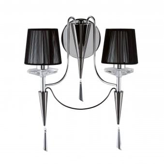 Duchess Chrome 2 Light Wall Fitting with Black String Shades
