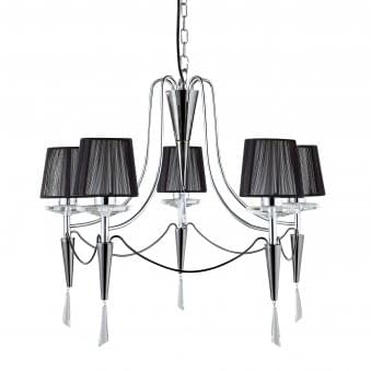 Duchess Chrome 5 Light Fitting with Black String Shades