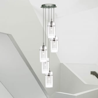 Duo 1 Satin Silver Five Drop Pendant with Glass Shades
