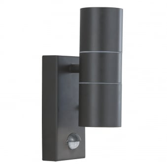 Exterior/Porch Black Wall Light Tube Design With Integrated PIR Motion Sensor
