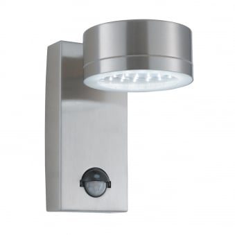 Exterior/Porch LED Wall Light in Silver with PIR Sensor
