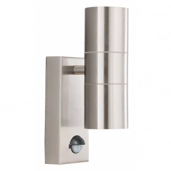 Exterior/Porch Silver Wall Light Tube Design With Integrated PIR Motion Sensor