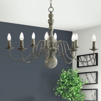Greythorne Eight Arm Chandelier in Textured Grey Finish