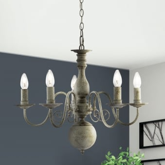 Greythorne Five Arm Chandelier in Textured Grey Finish