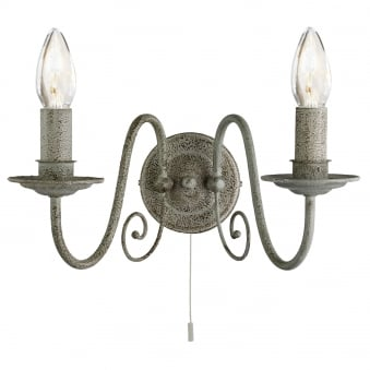 Greythorne Two Arm Wall Light in Textured Grey Finish