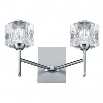 Ice Cube Twin Arm LED Glass and Satin Silver Wall Light
