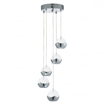 Iceball 5 Light LED Pendant with in Chrome with Glass Bubble Shades