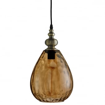 Indiana Pendant in Antique Brass with Tapered Amber Dimpled Glass Shade