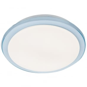 LED Bathroom IP44 Ceiling Light with Blue Trim and White Diffuser