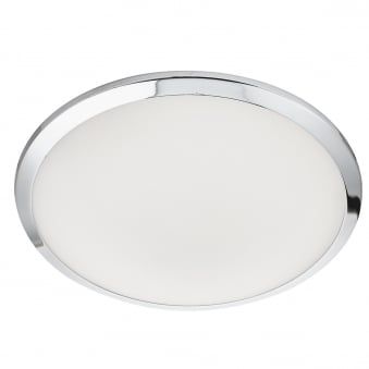 LED Bathroom IP44 Flush Fitting with Chrome Trim and Frosted Glass Shade