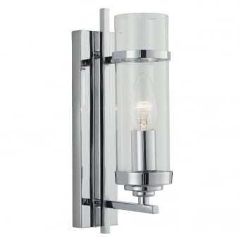 Milo Chrome Single Arm Wall Light with Clear Glass Shades
