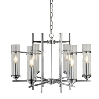 Milo Chrome Six Light Pendant with Clear Glass Shades