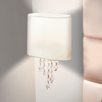 Nina Single Arm Chrome Wall Light with White Shade