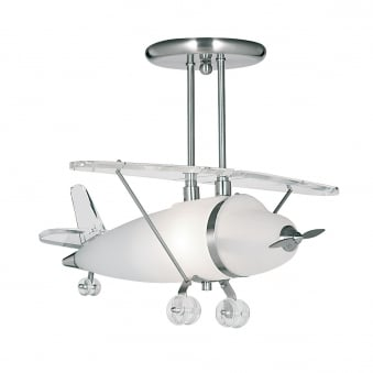 Novelty Satin Silver Airplane Light With Frosted Glass
