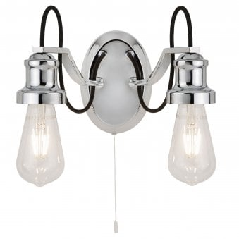 Olivia Chrome 2 Light Wall Fitting with Braided Fabric Cable