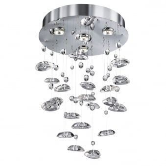 Pebbles Crome 4 Light Pendant in Chrome with Clear Acrylic Shades