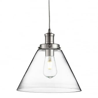 Pyramid Chrome Pendant With Clear Glass Shade