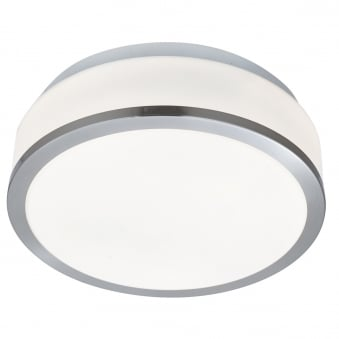Satin Silver Trim with Opal Glass Shade IP44 Bathroom Ceiling Light