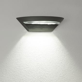 Semi Circle Outdoor IP44 LED Wall Light in Dark Grey