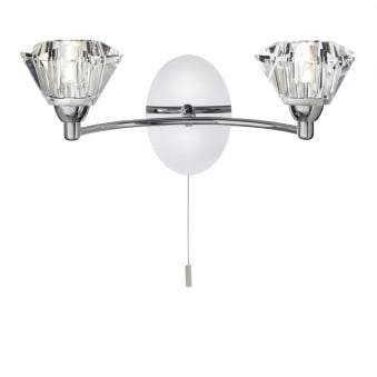 Sierra Chrome 2 Light Wall Fitting with Sculptured Glass Shades