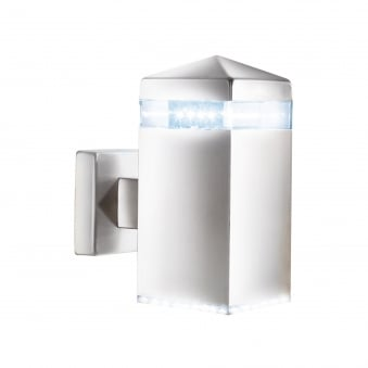 Square LED IP44 Outdoor Wall Light in Satin Silver finish