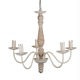 Sycamore Five Arm Chandelier in Washed Brown Wood Finish