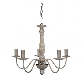 Sycamore Five Arm Chandelier in Washed Grey Wood Finish