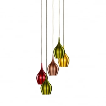 Vibrant Five Light Coloured Multi Drop Pendant