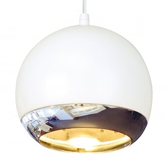 **EX-DISPLAY** Light Eye White and Chrome Pendant Breakfast Bar Light